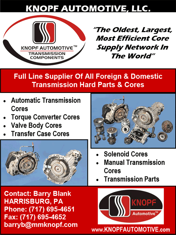 Knopf Automotive - The oldest, largest most efficient core supply network in the world.