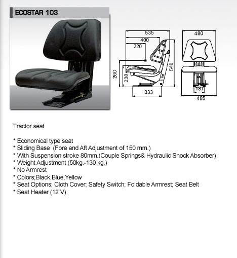 High Quality Seat for Tractors&Forklifts