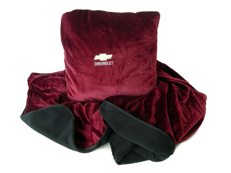Burgundy Chevrolet fleece pillow blanket