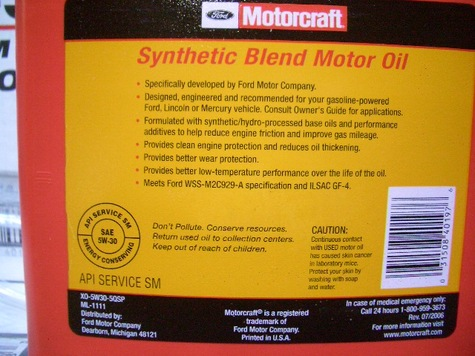 Motorcraft XO-5W30-5QSP Engine Oil in Jag (Jag is 5 Quarts )Premium Synthet