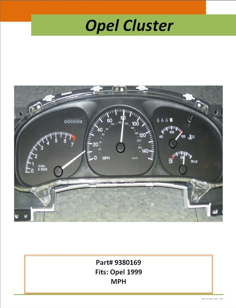 Opel dash instrument cluster: MPH 1999