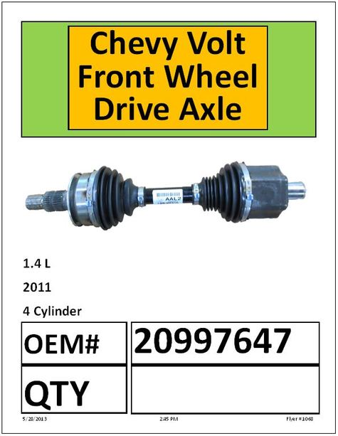 Chevy Volt Front Wheel Drive Axle
