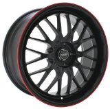 Black Finish Wheel with Red Accents