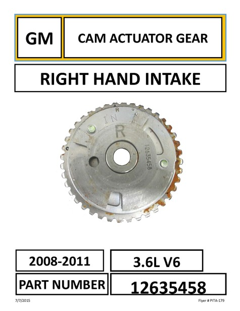 GM RIGHT HAND INTAKE CAM ACTUATOR INTAKE GEAR PART NUMBER: 12635458