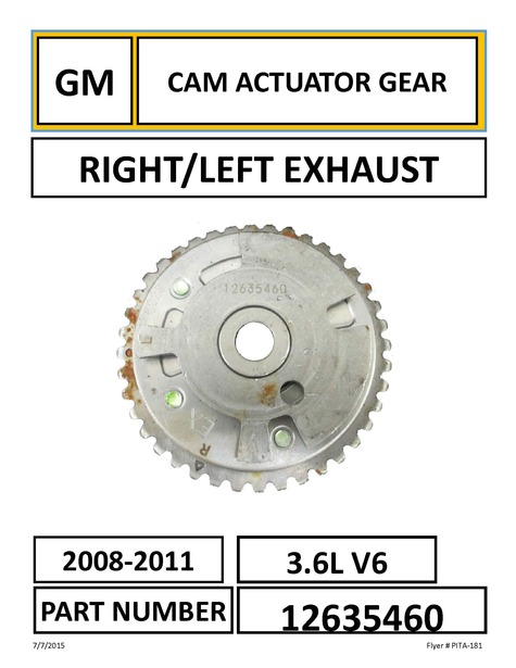 GM CAM ACTUATOR GEAR RIGHT/LEFT EXHAUST PART NUMBER: 12635460