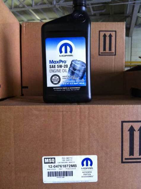 Mopar Motor Oil 5w20 part # 68218890AB