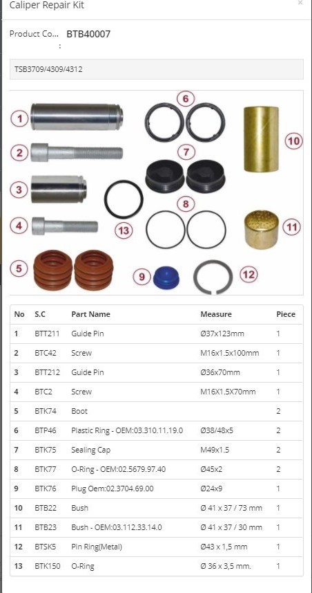 BTB40007 Brake caliper repair kits for truck and bus