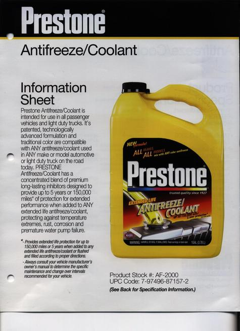 Prestone Antifreeze