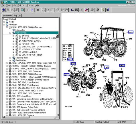 Electronic part books for all JOHN DEERE agricultural machinery
